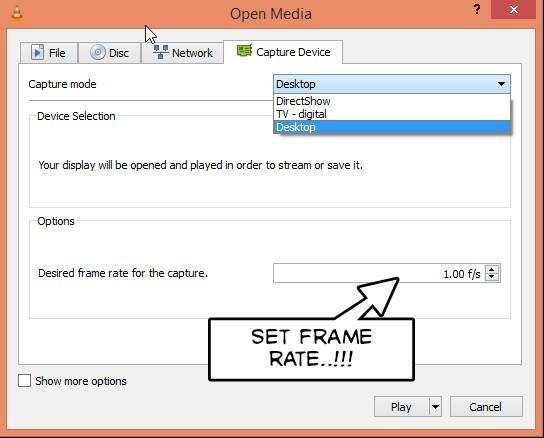 use vlc to capture desktop