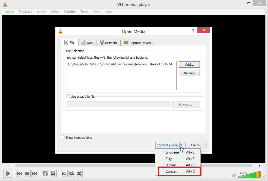 click on convert How to Extract Audio from Video files using VLC Media Player