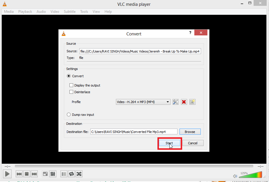 click on start to extarct audio from video files How to Extract Audio from Video files using VLC Media Player