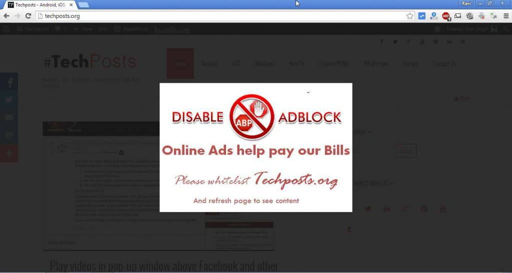 stop displaying content to adblock user
