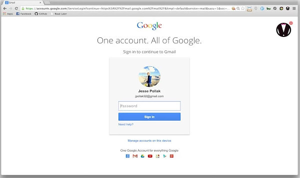 Login to Gmail Acoount without entering password