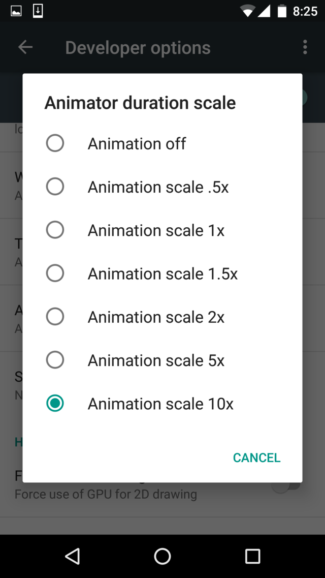 Set Animation Scale to 10x -Techposts