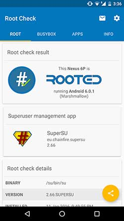 Nexus 6P Root Check using Root Checker App