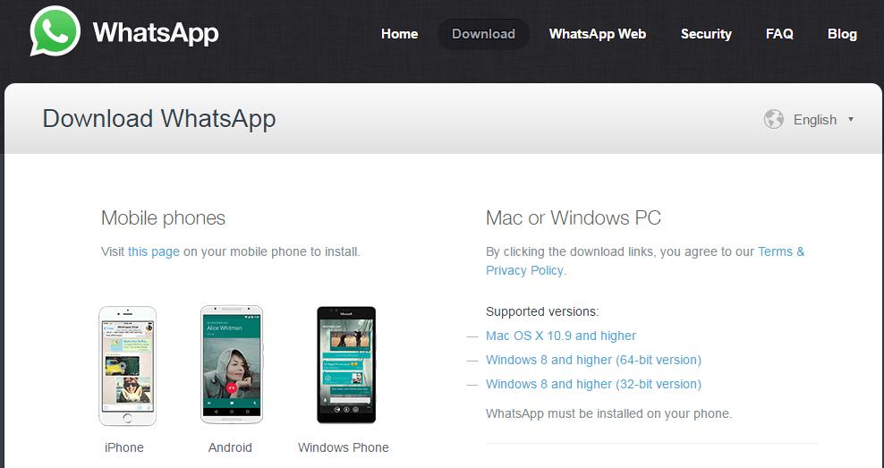 Download Whatsapp Desktop app fo Windows and Mac