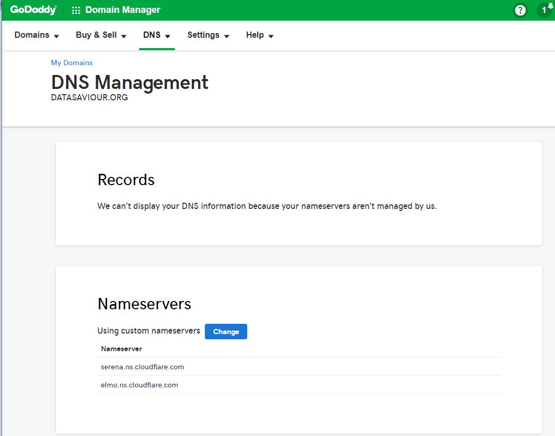 Changes Domain DNS Nameservers