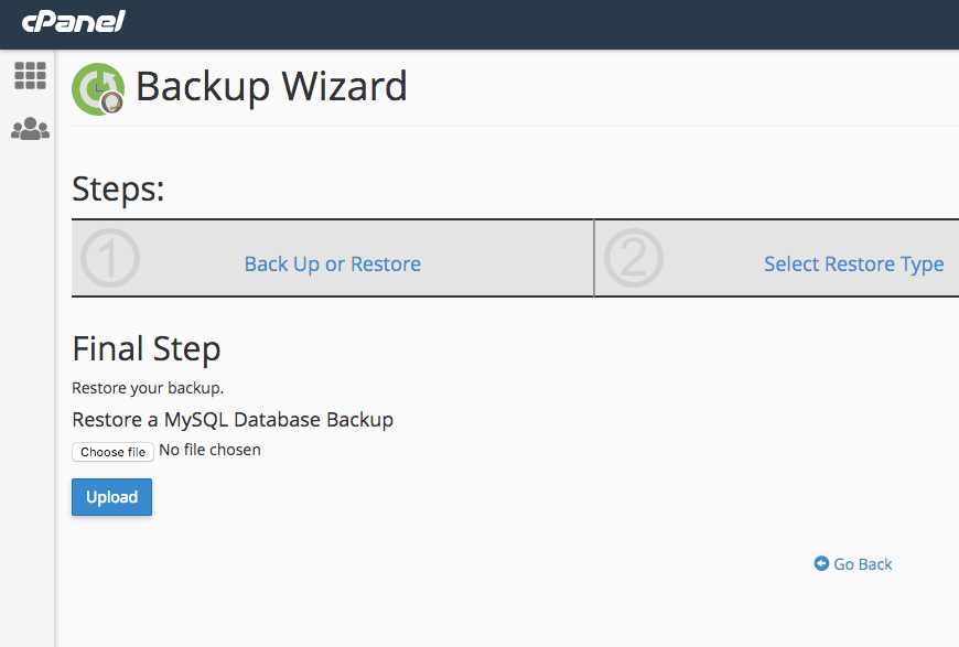 Choose the Bcakup file and restore