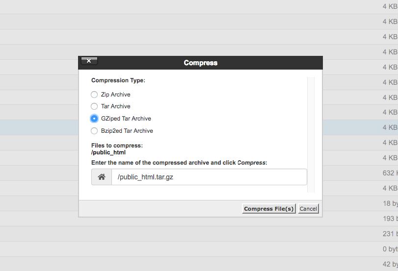 Compress the public_html folder directory