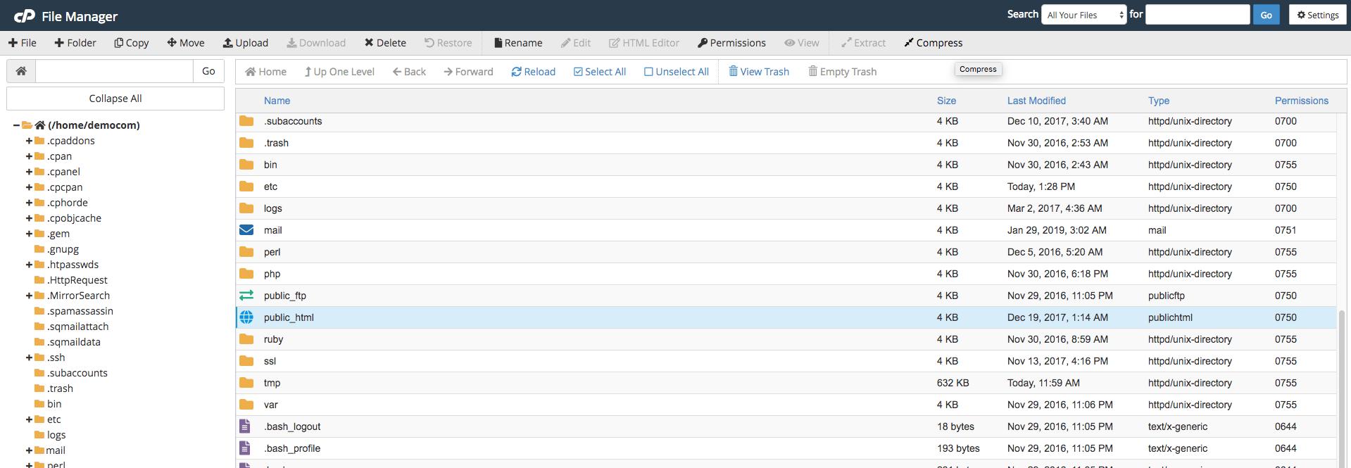 Select public_html and click compress